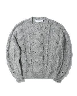Cut-out cable knit sweater