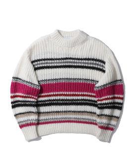 Striped high neck sweater
