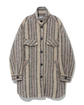 High neck striped wool overcoat