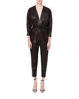 Faux leather jumpsuit