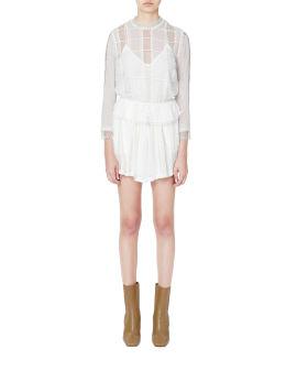Panelled lace mini dress