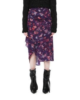 Gathered asymmetric midi skirt
