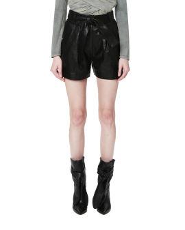 Yazuka paperbag leather shorts
