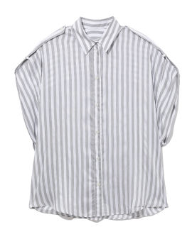 Myng short sleeve striped button-up shirt
