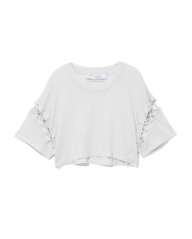 Cropped lace-up sleeves top