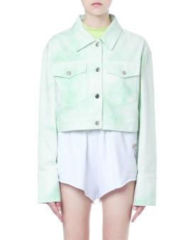 Cropped tie-dye denim jacket