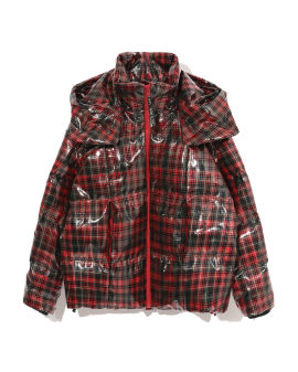 izzuextreme plaid PVC down jacket