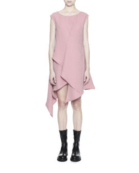 Pleated asymmetric hem dress