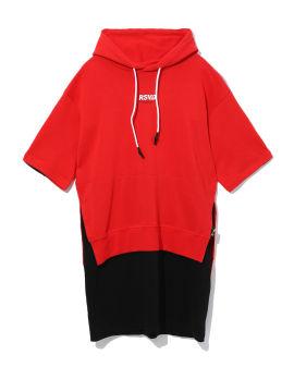 Layered slogan hoodie dress