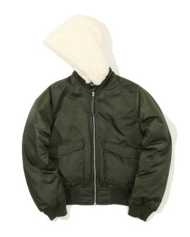 Faux fur hood bomber jacket