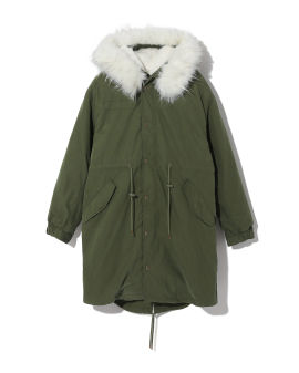 Hooded parka jacket with fur ruff