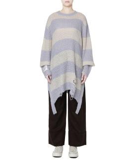 Distressed hem elongated sweater