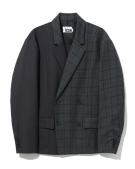 Patched check blazer