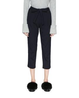 Waist tie crop trousers