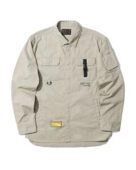 NHIZ cotton buckle pocket shirt