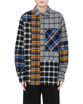 Flannel checks patchwork shirt