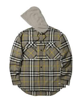 Check hooded shirt