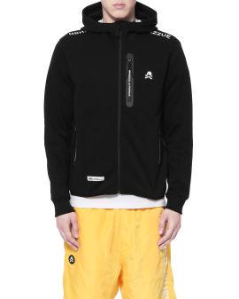 NHIZ logo print zip hoodie