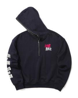 Slogan quarter zip hoodie