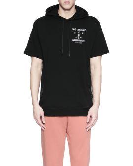 Slogan embroidered short sleeve hoodie