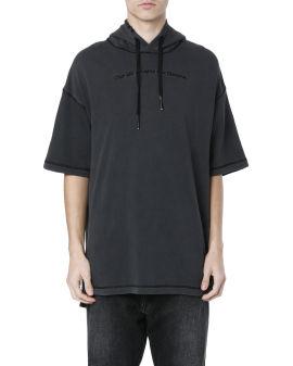 Short sleeve slogan hoodie