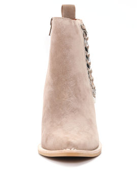 Chain-embellished pointed toe boots