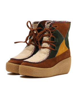 Patchwork faux shearling low boots