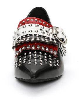 Studded buckle embellished moccasins