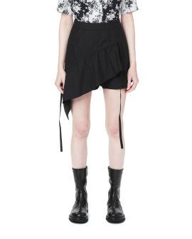 Asymmetrical draped shorts