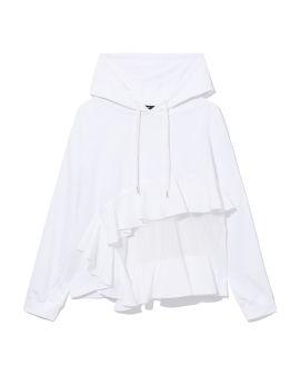 Ruffled semi-sheer hoodie