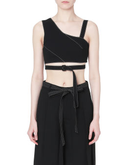 Buckled asymmetrical cropped top