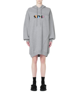 Logo sweater hoodie dress