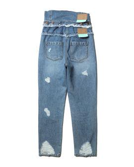High waist distressed jeans