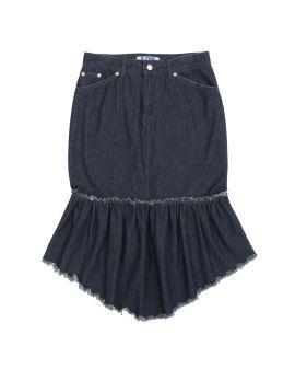 Denim fish-tail frayed skirt