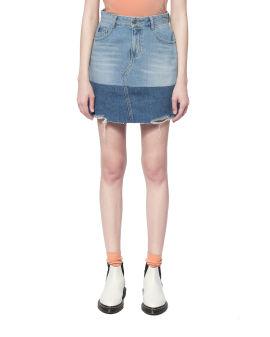 Distressed two-tone denim skirt