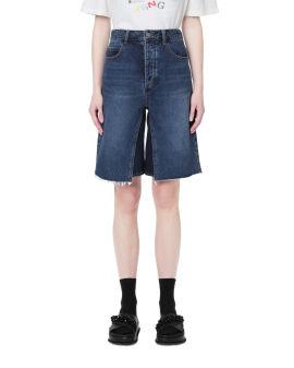 Spliced denim shorts