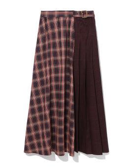 Plaid panelled skirt