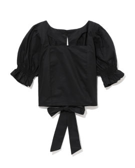 Puffed sleeves cropped top