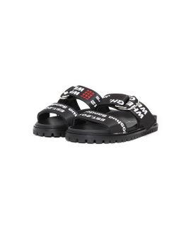 Logo print belt sandals