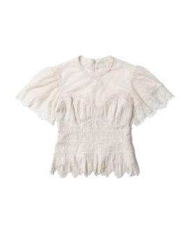 Iliana Silk Lace Plisse top