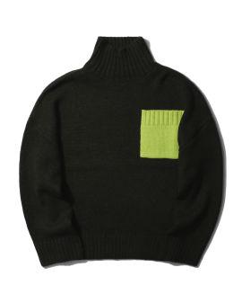 Patch pocket turtleneck sweater