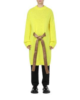 Tied long crew neck sweater