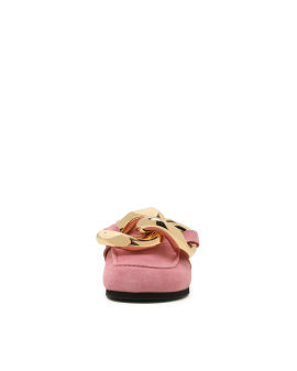 Chain leather loafer mules