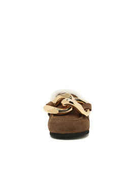 Shearling chain loafers