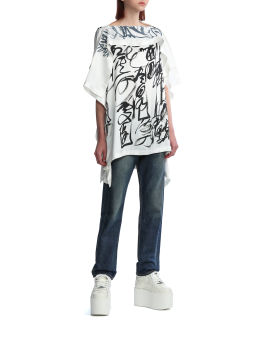Stonewashed effect cropped jeans