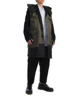 Plaid panelled coat
