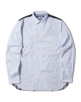 Contrast plaid pinstriped shirt