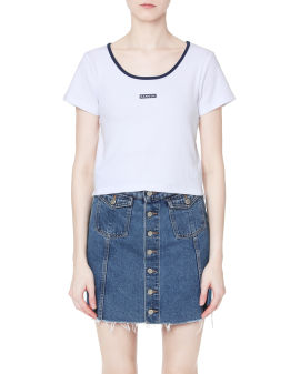 Ribbed logo cropped top