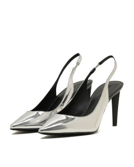 Metallic slingback heels