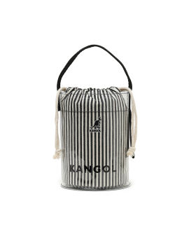 Logo striped bucket bag